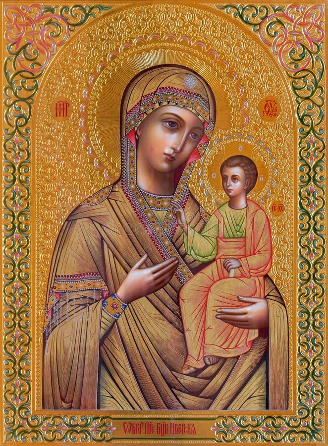 Jeruzalem - het pictogram van Madonna in Russische orthodoxe Kerk van Heilige Mary van Magdalene royalty-vrije stock afbeeldingen