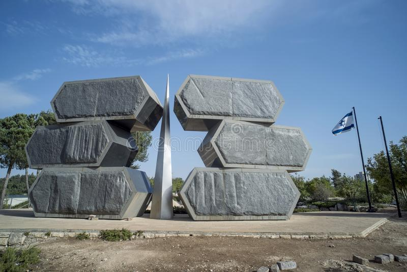 Jeruzalem, Israël 24 Oktober 2018: Yad Vashem, het officiële binnen gevestigde gedenkteken van Israël aan de Joodse slachtoffers  stock foto