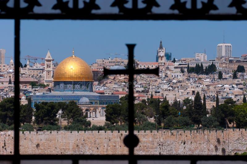 Jeruzalem, Koepel van de Rots, Kruis stock foto
