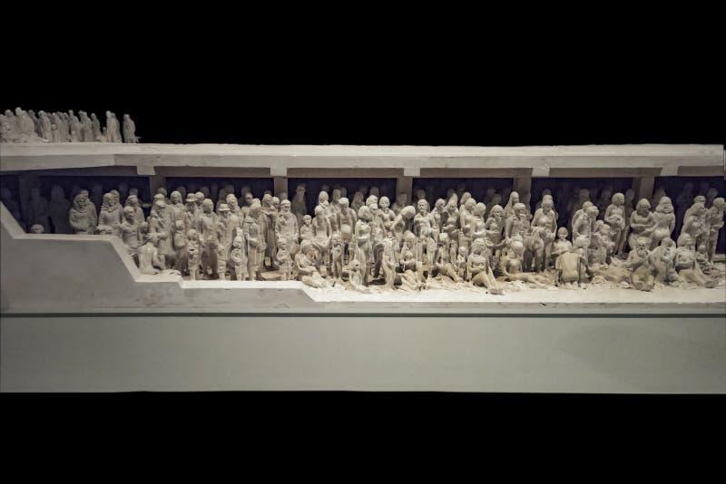 JERUZALEM op 14 September 2017 De Mening van holocaustmuzeum van de Holocausttragedie via een model in het Holocaustmuseum in Jer royalty-vrije stock fotografie