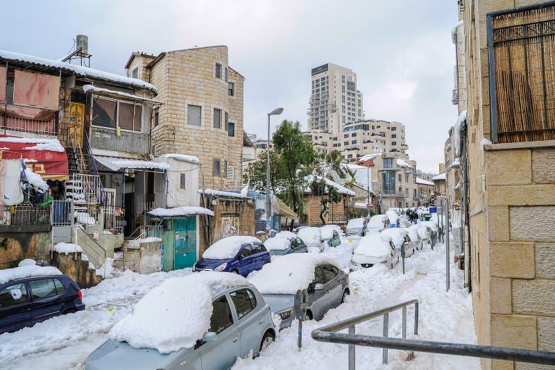 Jeruzalem in sneeuw stock afbeelding