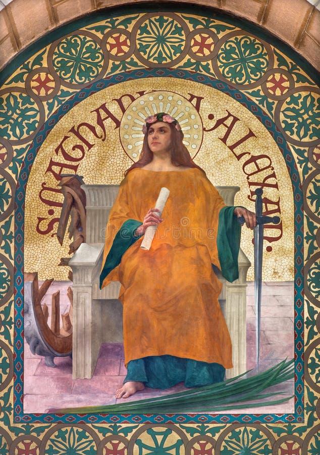 Jeruzalem - verf van Heilige Catharine van de vroege christelijke martelaar van Alexandrië in st Stephens kerk van jaar 1900 door royalty-vrije stock afbeeldingen