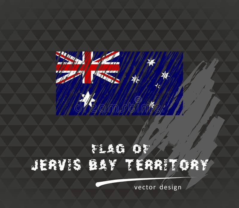 Jervis Trzymać na dystans terytorium flaga, wektorowa ręka rysująca nakreślenie ilustracja na ciemnym grunge tle ilustracja wektor
