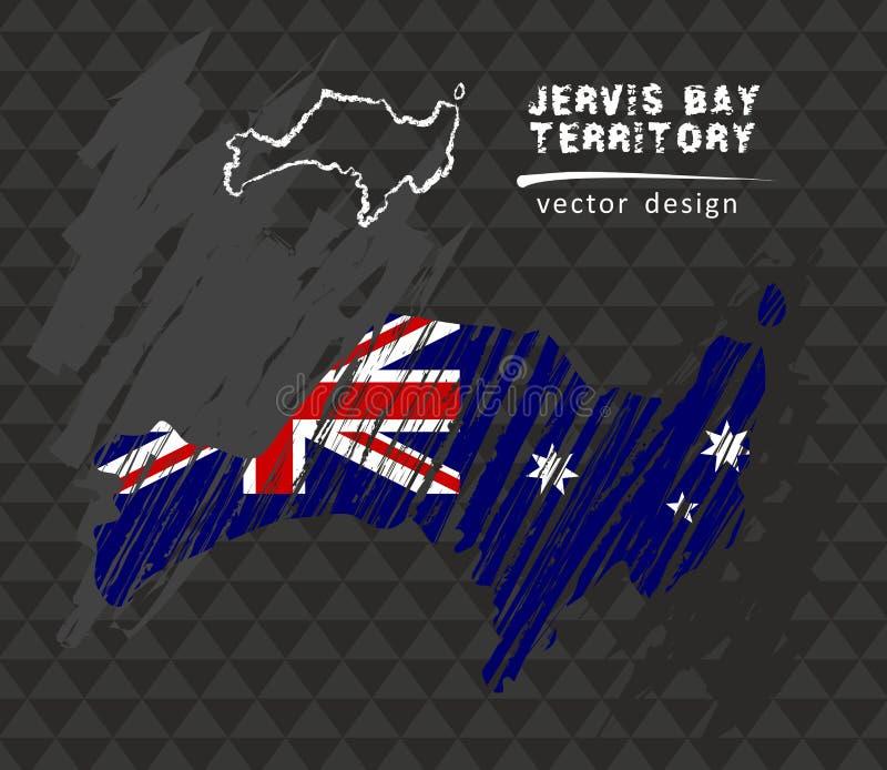 Jervis Trzymać na dystans terytorium krajowa wektorowa mapa z nakreślenie kredy flaga Nakreślenie kredy ręka rysująca ilustracja ilustracji