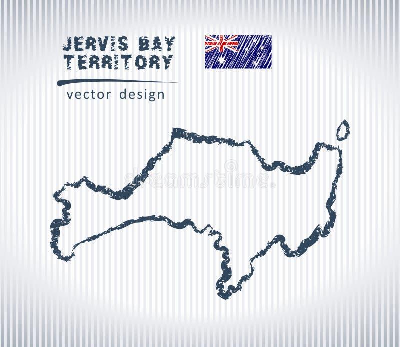 Jervis Trzymać na dystans terytorium kredowego rysunku wektorowa mapa odizolowywająca na białym tle royalty ilustracja