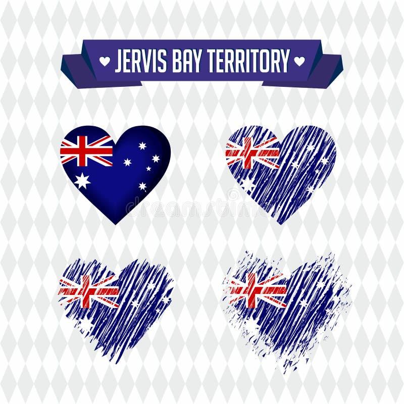 Jervis zatoki terytorium z miłością Projekta wektorowy złamane serce z flaga inside ilustracja wektor