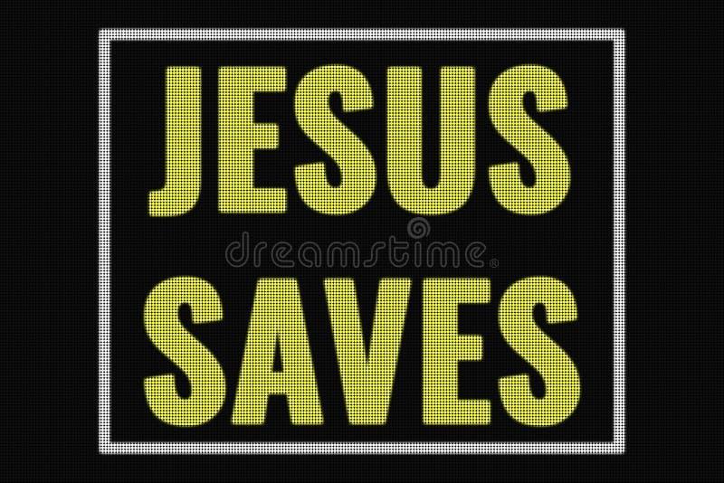 Jesús ahorra el texto en la pantalla oscura stock de ilustración