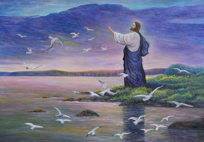 Jesús alimenta pájaros stock de ilustración