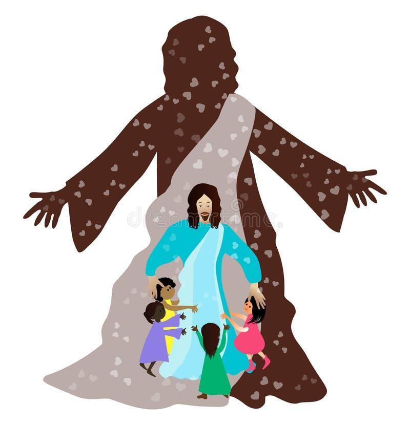 Jesús ama a los pequeños niños ilustración del vector