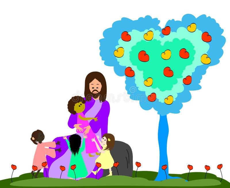 Jesús ama a los pequeños niños stock de ilustración