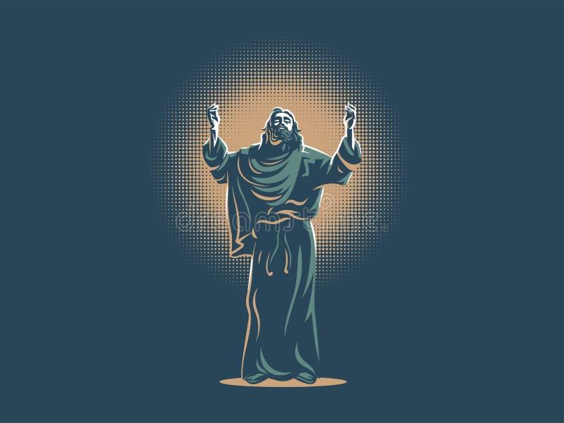 Jesús aumentó sus manos en rezo ilustración del vector
