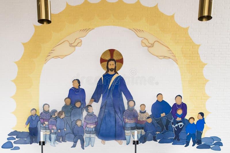 Jesús bendice a Inuits stock de ilustración