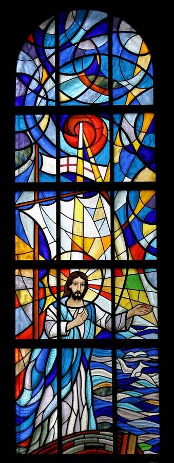 Jesús calma una tormenta en el mar imagenes de archivo