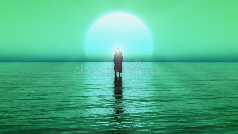 Jesús camina en el agua, milagros de Jesus Christ, el profeta de dios, 3D rinden con color verde y azul libre illustration