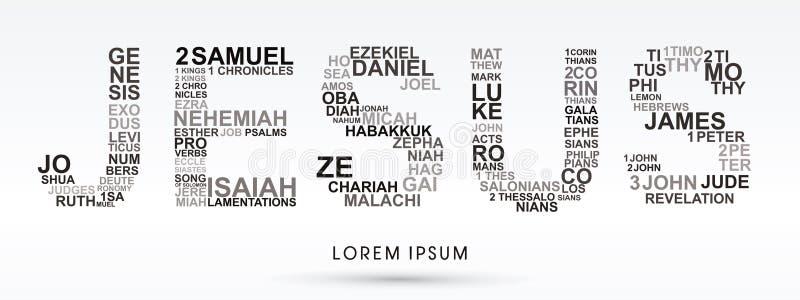 Jesús con la biblia redacta génesis a la revelación ilustración del vector