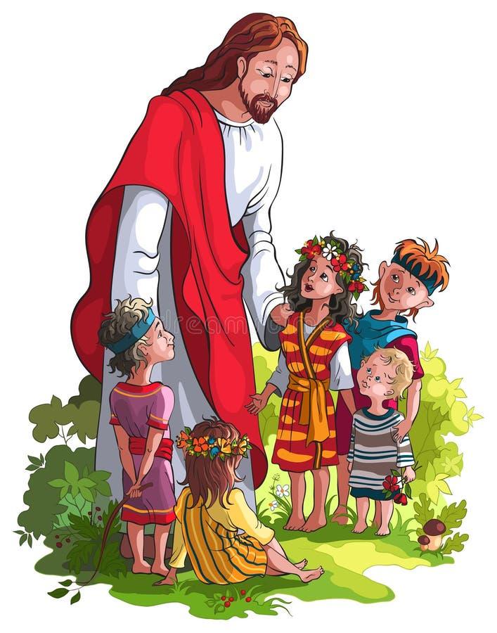 Jesús con los niños stock de ilustración