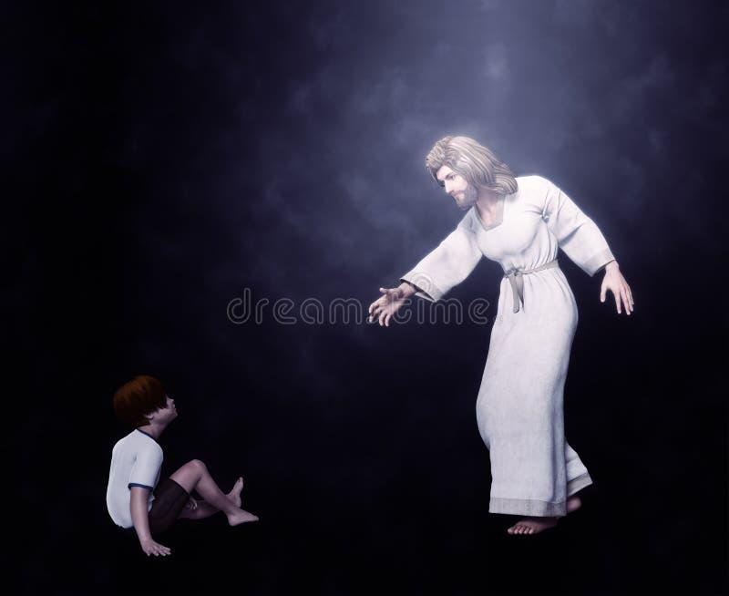 Jesús con un ejemplo del niño imagen de archivo