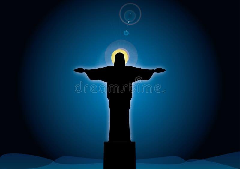 Jesús contra el cielo ilustración del vector