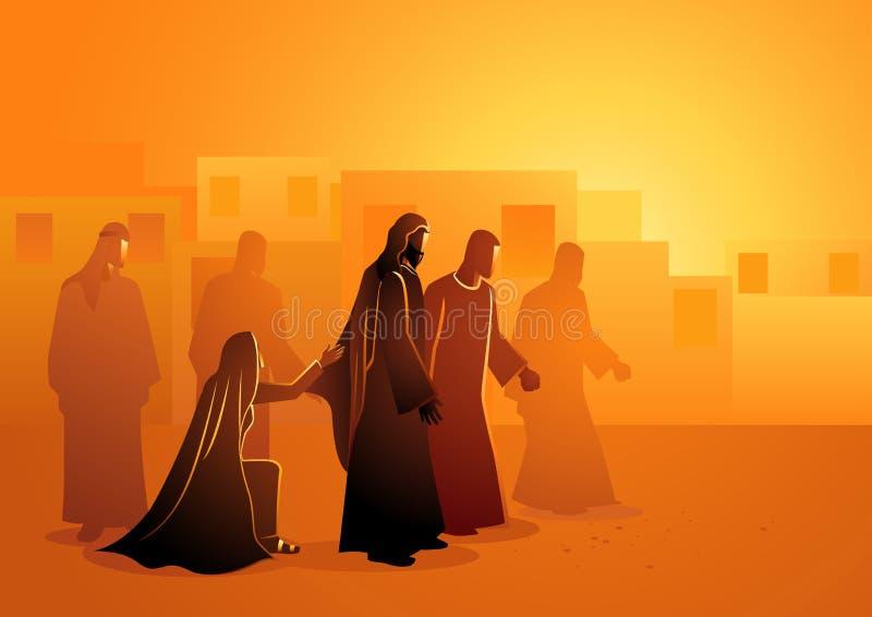 Jesús cura a la mujer que sangra stock de ilustración
