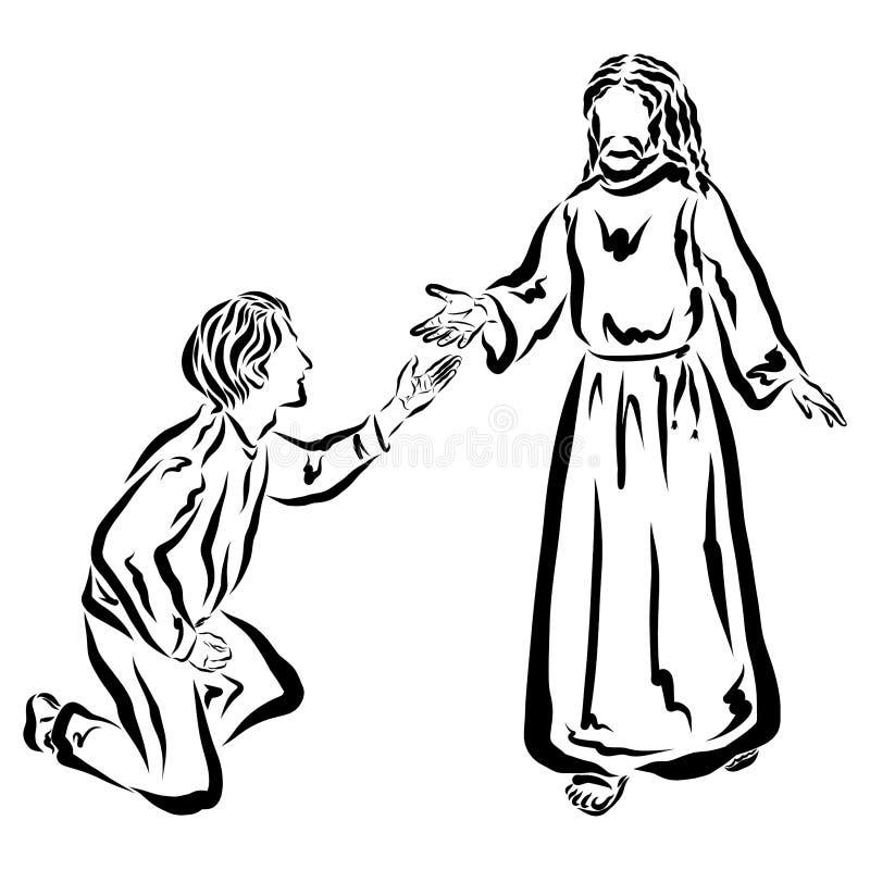 Jesús da a hombre una mano amiga o le enseña stock de ilustración