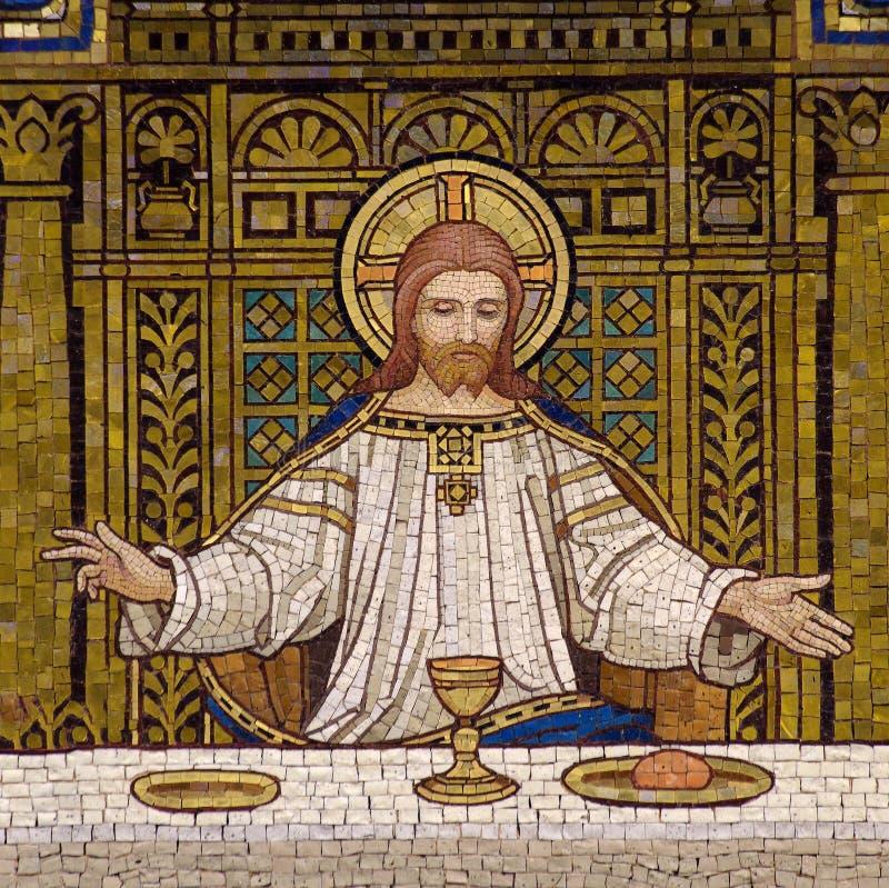 Jesús durante la última cena imágenes de archivo libres de regalías