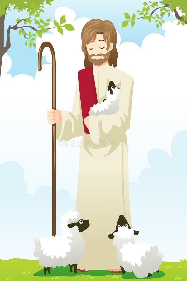 Jesús el pastor stock de ilustración