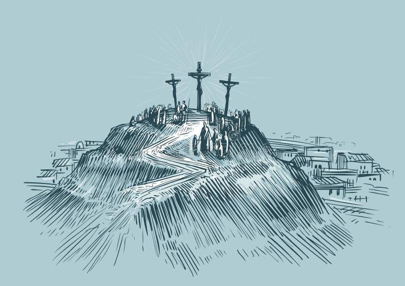 Jesús en cruz Soporte Golgotha Ejemplo del vector del bosquejo del arte stock de ilustración