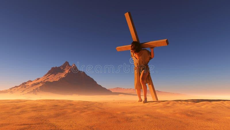 Jesús en el desierto. ilustración del vector