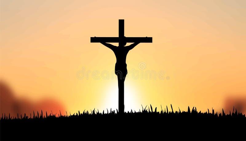 Jesús en el vector cruzado ilustración del vector