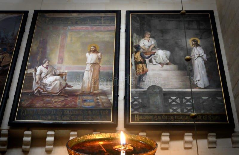 Jes?s, Herod, P Pilatus Noche de ensayos sentencia foto de archivo