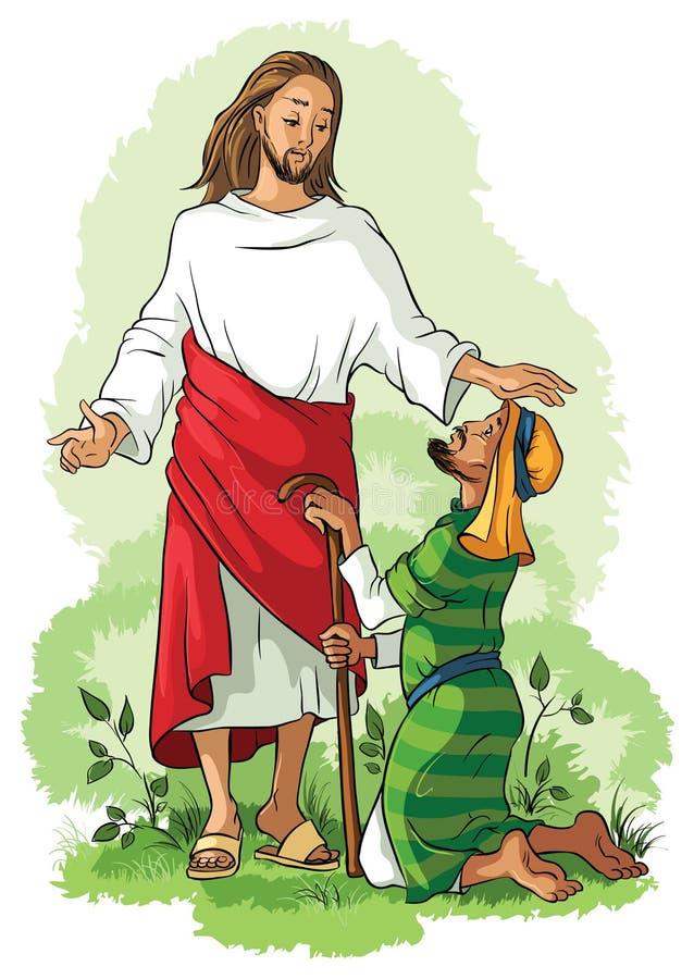 Jesús que cura a un hombre cojo ilustración del vector