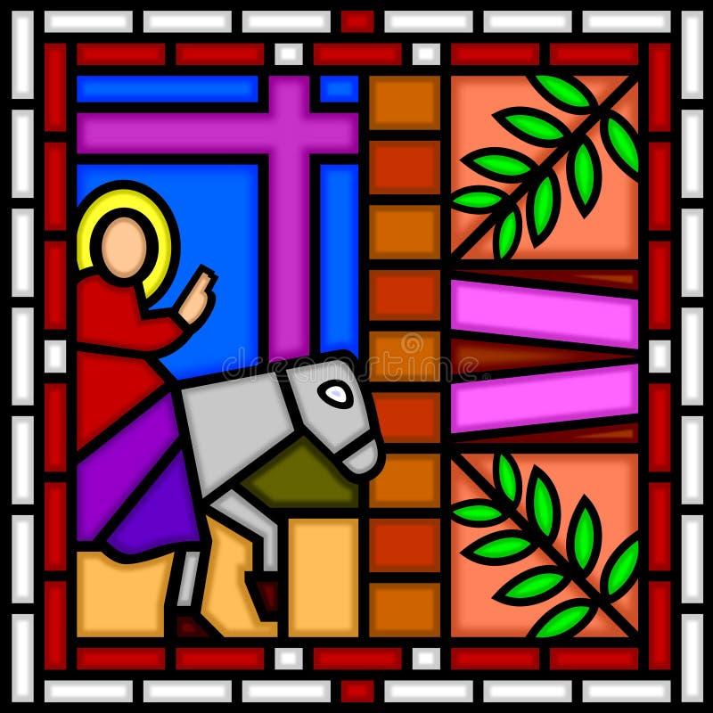 Jesús que entra en Jerusalén ilustración del vector