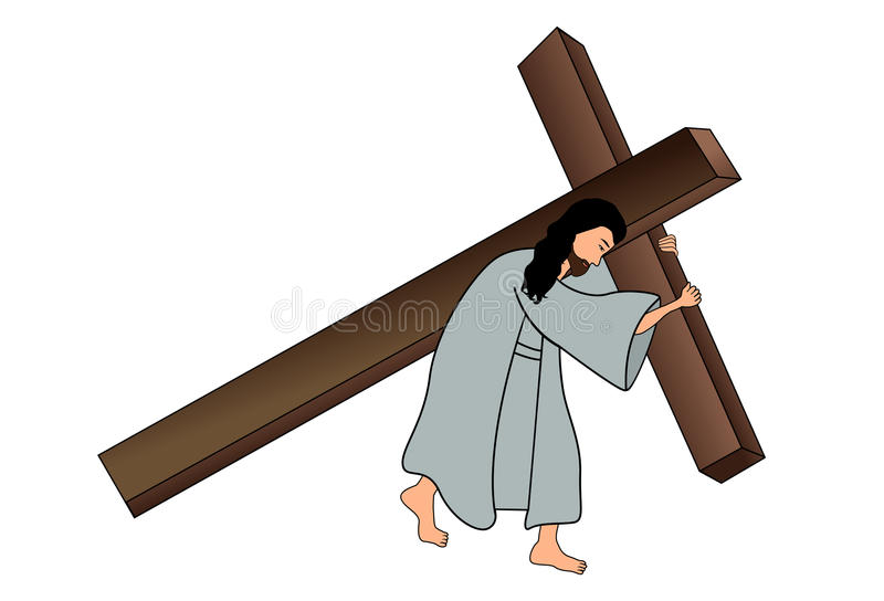 Jesús que lleva la cruz ilustración del vector