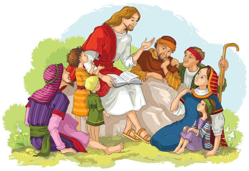 Jesús que predica a un grupo de personas Ejemplo del cristiano de la historieta del vector libre illustration