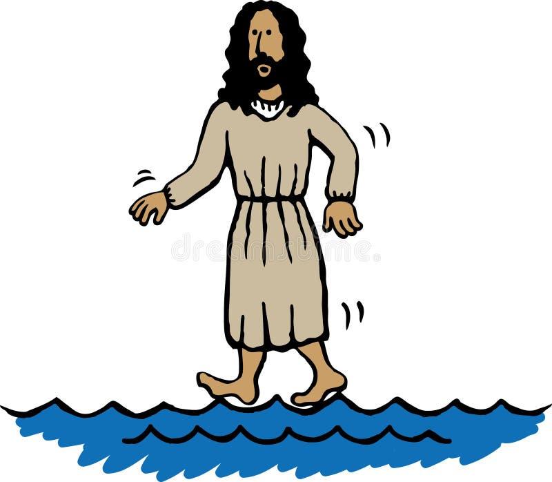 Jesús que recorre en el agua ilustración del vector