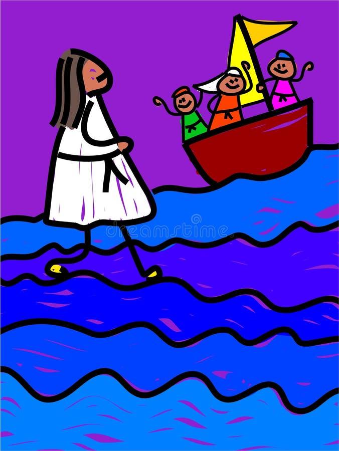 Jesús recorre en el agua ilustración del vector