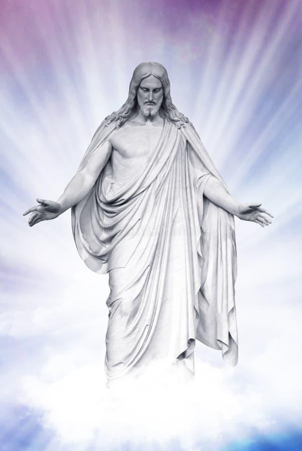 Jesús resucitó en nubes divinas fotografía de archivo libre de regalías