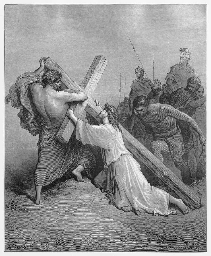 Jesús se cae con la cruz ilustración del vector