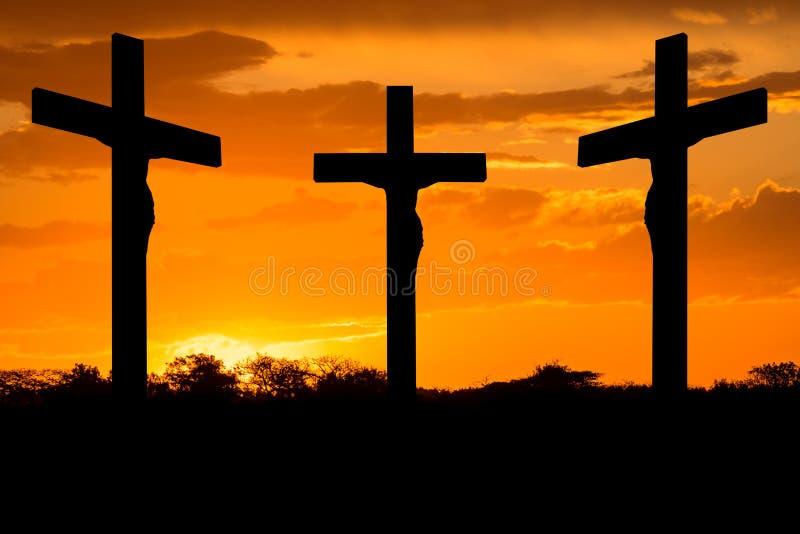 Jesús y cruces fotografía de archivo libre de regalías
