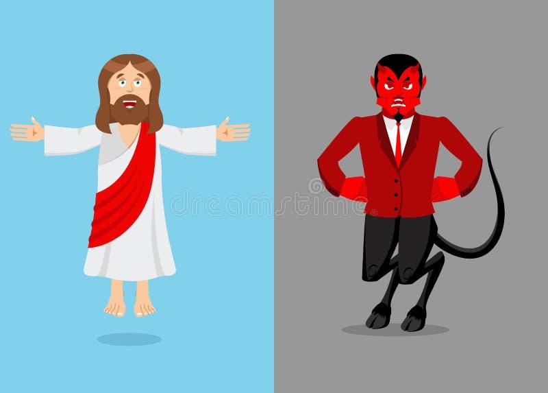 Jesús y diablo Cristo y Satanás Hijo de dios y del demonio Lucifer stock de ilustración