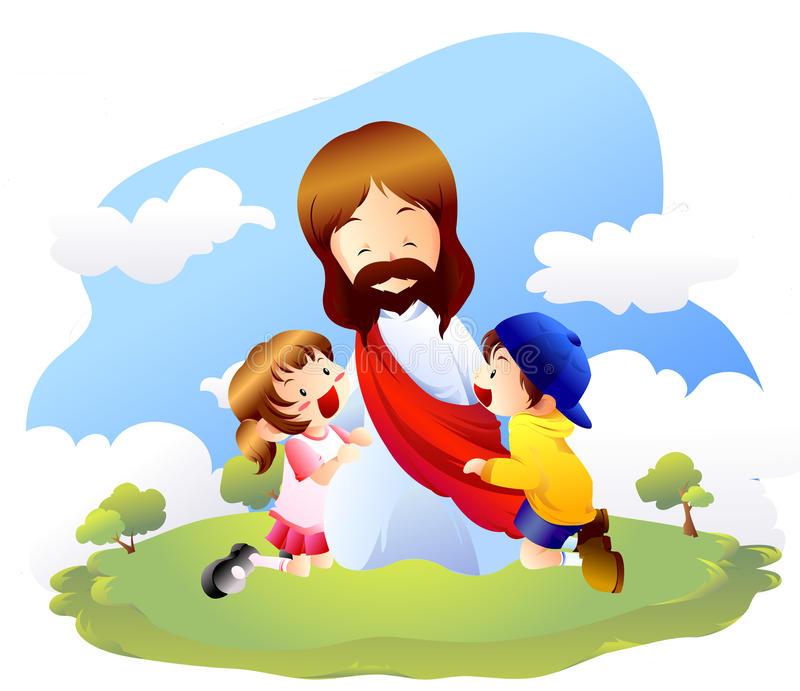Jesús y pequeños niños stock de ilustración