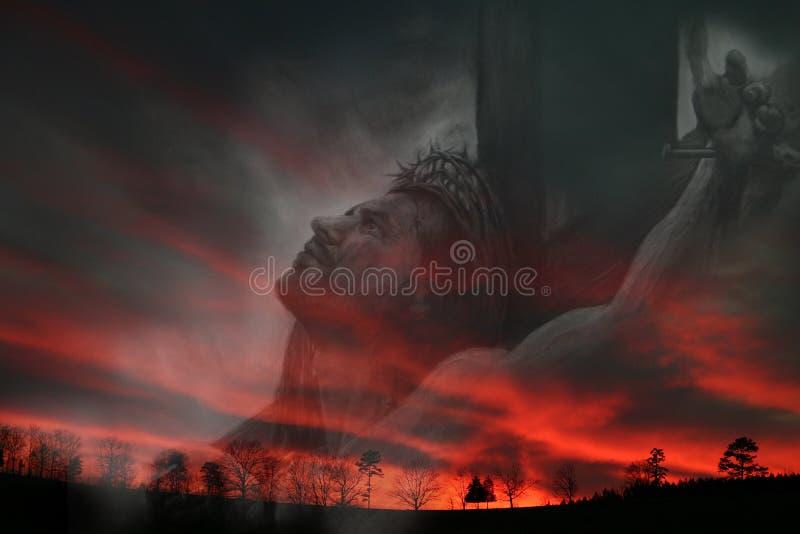 Jesús y puesta del sol ilustración del vector