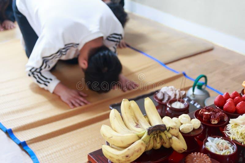 Jesa ou Charye, ritos comemorativos ou cerimônia para antepassados em Coreia imagem de stock