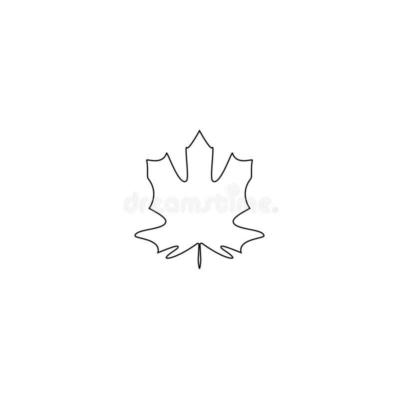 Jesień liścia klonowego linia Odizolowywał natura symbol, sylwetka na białym tle również zwrócić corel ilustracji wektora ilustracji
