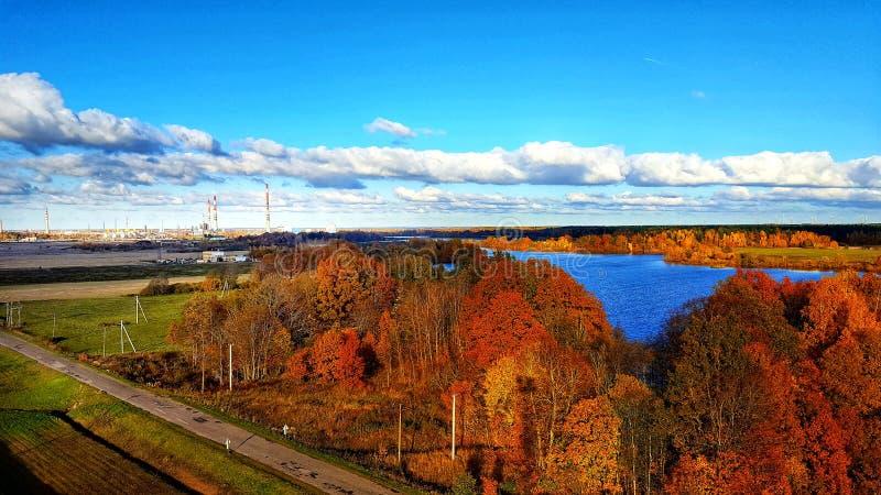 jesień błękit długa natura ocienia niebo zdjęcia royalty free