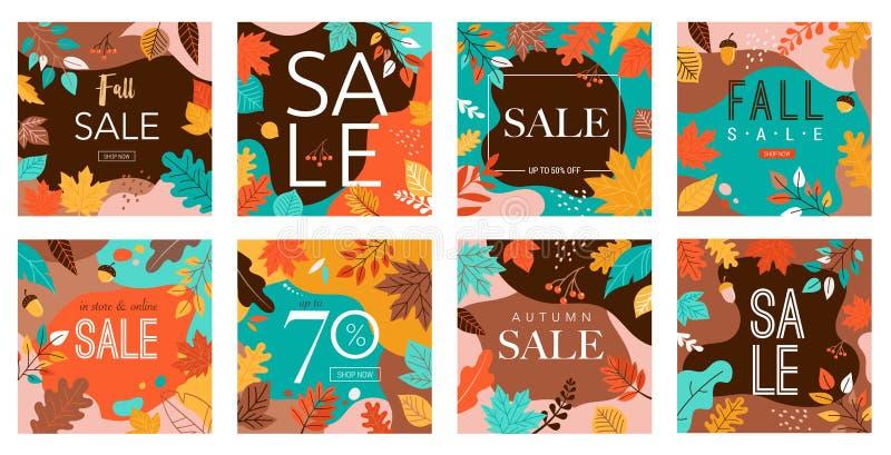 Jesień, banery na jesieni, zbiór abstrakcyjnych projektów tła, sprzedaż upadków, projektowanie historii, promocja mediów społeczn ilustracji