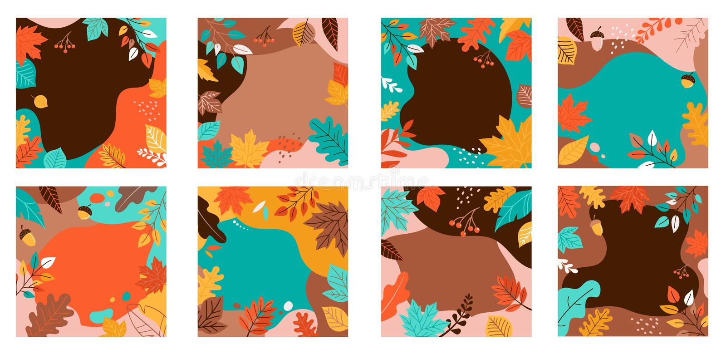 Jesień, banery na jesieni, zbiór abstrakcyjnych projektów tła, sprzedaż upadków, projektowanie historii, promocja mediów społeczn ilustracja wektor