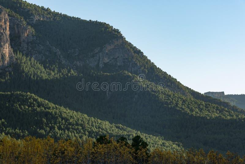 Jesień barwi w Segura rzece, sierra de los Molares, Yeste fotografia stock