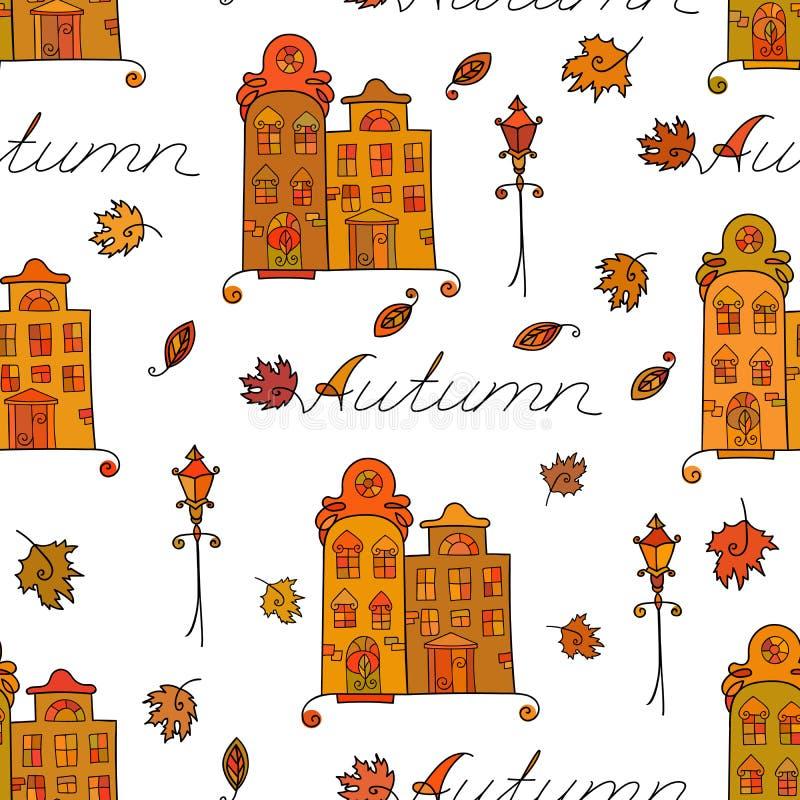 Jesień bezszwowy wzór domy ilustracji