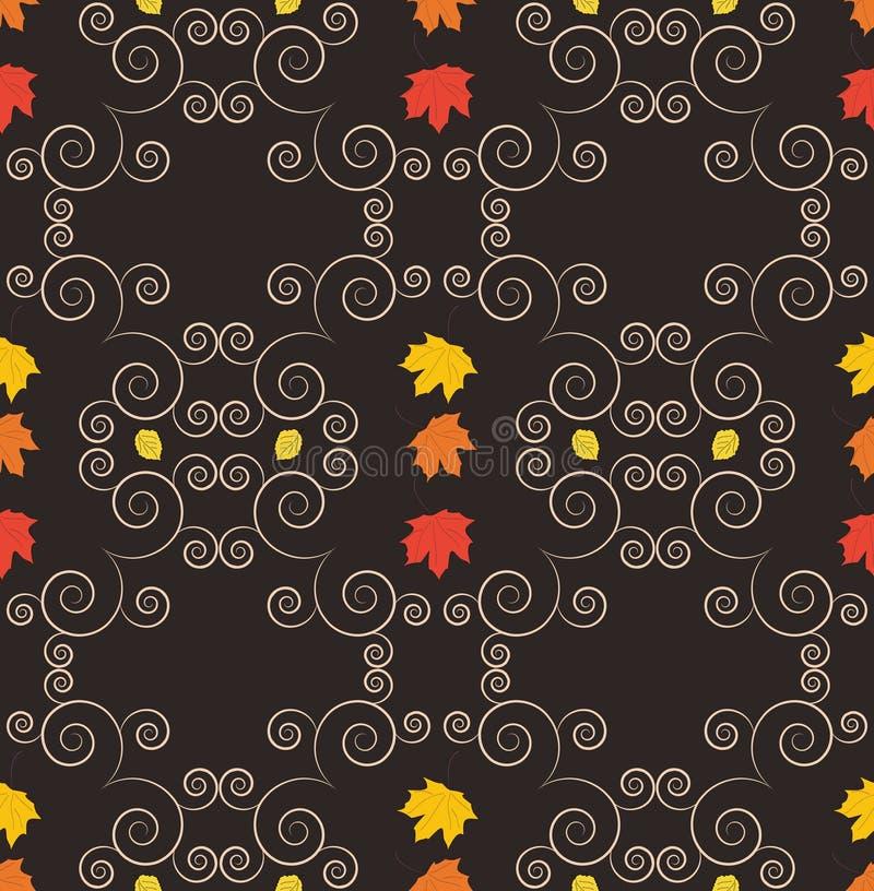 Jesień bezszwowy wzór, ornamentacyjna tapeta, sztuka wektoru illust zdjęcia stock